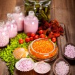 Spa supplies - mineral salt for aromatherapy — Stock Photo