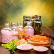 Spa supplies - aromatherapy bath salt — Stock Photo