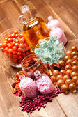 Aromatherapy - essential oil and bath salt — Stock Photo
