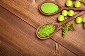 Aromatherapy background - bath salt — Stock Photo