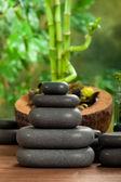 Spa massage - black stones — Zdjęcie stockowe