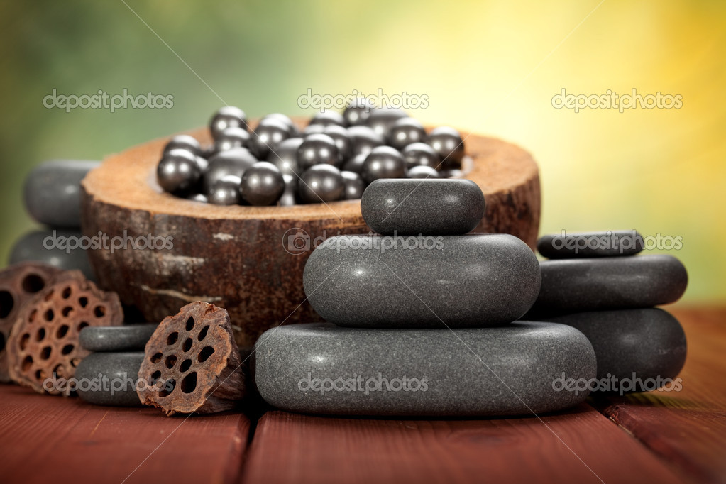 Massage hot stones  Stock Photo #7636189