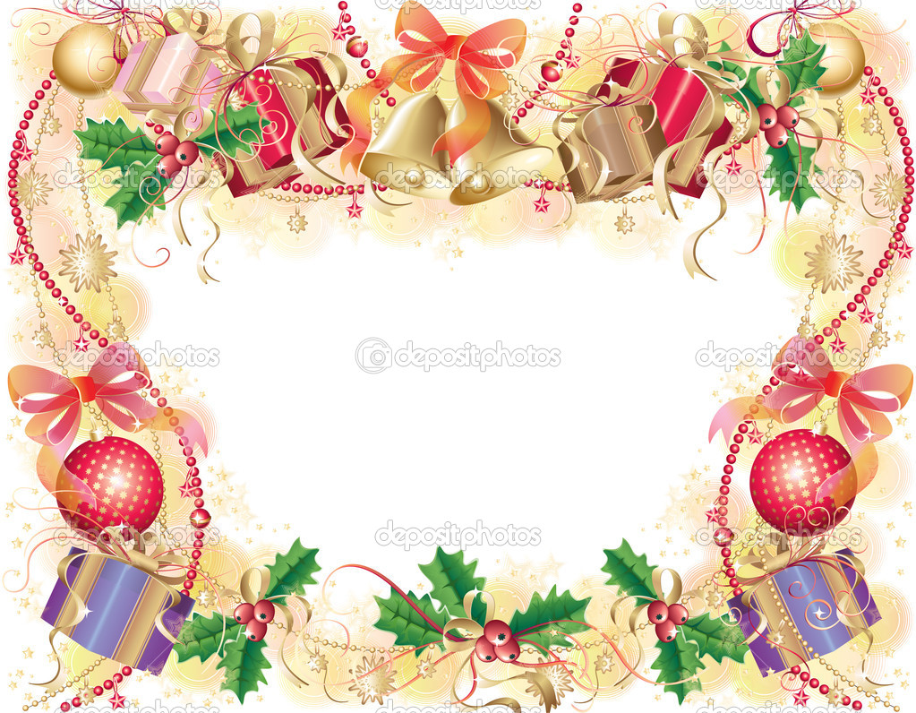 Gold background with christmas symbols (balls, bells, holly and gift box)  Stock Vector #7502630