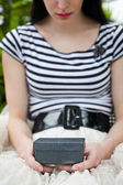 Girl with Gift Box — Stock Photo