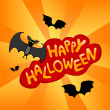 Halloween card with cartoon bats - Stock Vector