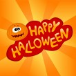 Halloween card with cute pumpkin — Stock Vector