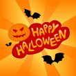 Halloween card with pumpkin and bats — Stock Vector