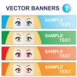 Color banners with girl looks - Stock Vector