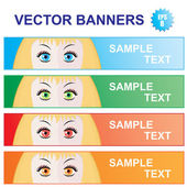 Color banners with girl looks — Stock Vector