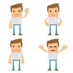 Set of funny cartoon casual man — Stock Vector #6837059