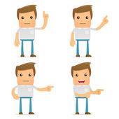 Set of funny cartoon casual man — Stock Vector