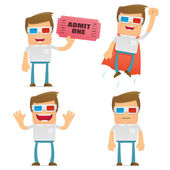 Set of funny cartoon casual man — Stock Vector