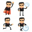 Set of funny cartoon security - Stock Vector