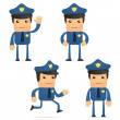 Set of funny cartoon policeman — Stock Vector #6887694