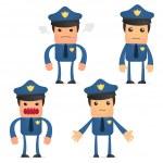 Set of funny cartoon policeman — Stock Vector #6887702