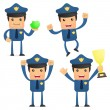 Set of funny cartoon policeman - Stock Vector