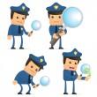 Set of funny cartoon policeman — Stock Vector #6887733
