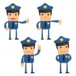Set of funny cartoon policeman — Stock Vector #6887755