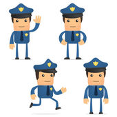 Set of funny cartoon policeman — Stock Vector
