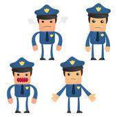 Verzameling van grappige cartoon politieagent — Stockvector