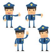Conjunto de policía divertidos dibujos animados — Vector de stock