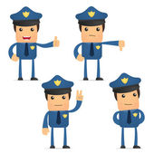 Set of funny cartoon policeman — Vector de stock