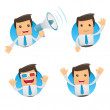 Set of funny cartoon manager — Stock Vector