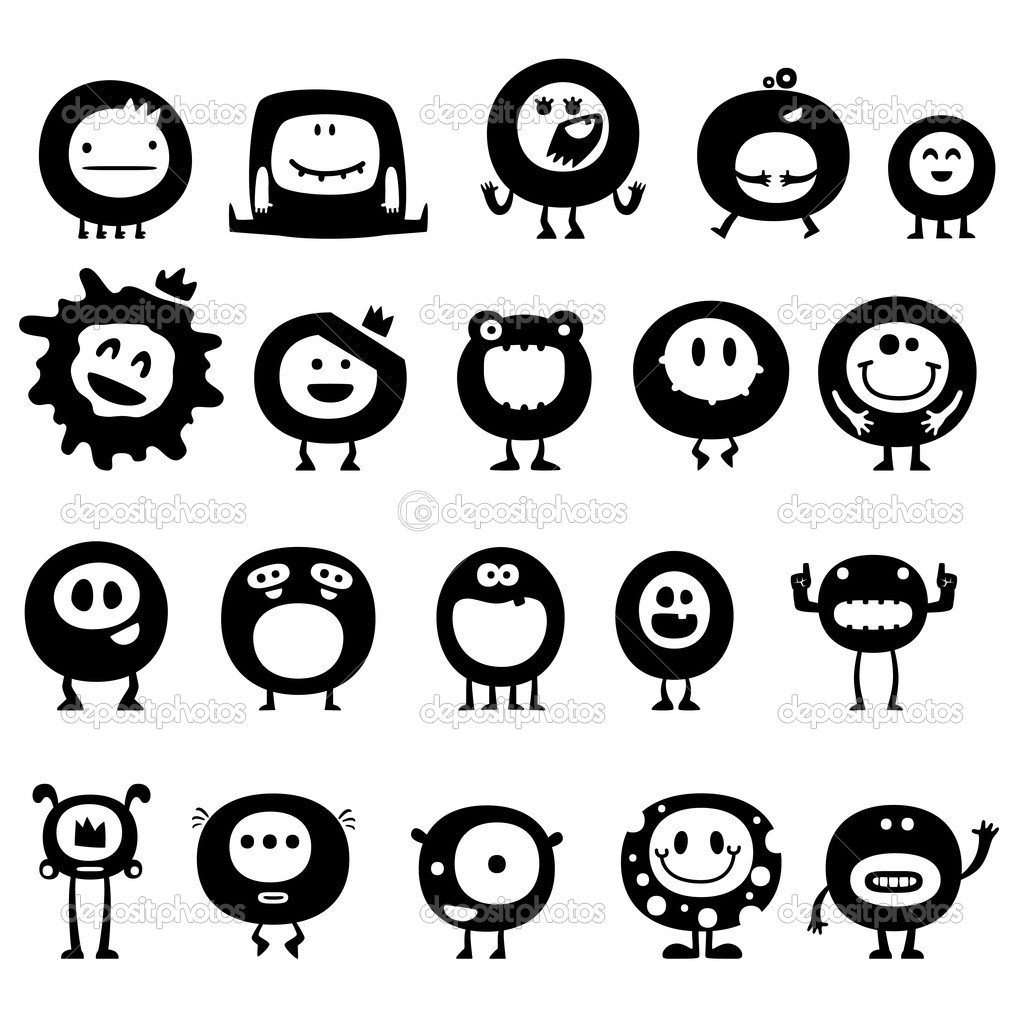 Collection of cartoon funny vector monsters silhouettes — Imagen vectorial #7154088