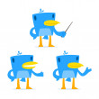 Set of funny cartoon blue bird - Stock Vector