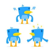 Set of funny cartoon blue bird — Stock Vector