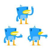 Set of funny cartoon blue bird — Stock Vector