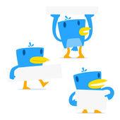 Set di uccello blu cartone animato divertente — Vettoriale Stock
