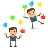 Set di uomo d'affari divertenti cartoon — Vettoriale Stock