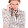 Portrait of a beautiful young business woman with headache — Stock Photo