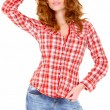 Stock Photo: Lovely young woman in casual clothing