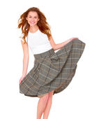 Beautiful young woman wearing skirt on white — Stock Photo