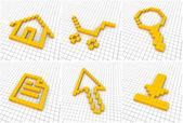Conjunto de 6 iconos naranjas — Foto de Stock