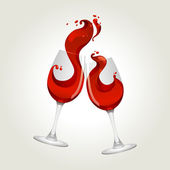 Toasting gesture two red wine glasses — Stock Vector