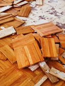 Removing the old oak parquet — Stock Photo