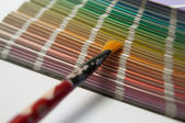 Color chart with brush — Stock Photo