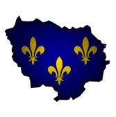 イルの国旗と地図・ ド ・ フランス — ストック写真