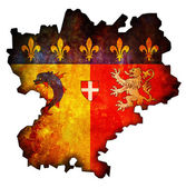 Map with flag of rhone alpes — Stock Photo