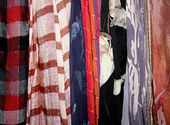 Scarves various material — Stock Photo