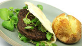 Vegetarian burger in Pitta bread with Baked Potato — Stock Photo