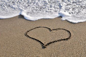 Heart - drawn in the sand — Stock Photo
