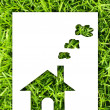 Paper house on fresh grass land. — Stock Photo