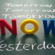 Постер, плакат: Now yesterday and tomorrow words on blackboard