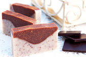 Home-made soap sandalwood and chocolate — Stock Photo