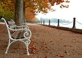 Promenade at Lake Balaton in autumn, Hungary — Stock Photo