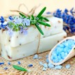 Stock Photo: Natural soap, herbs and bath salt